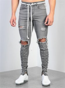 Rasgado Dietrressed Pants Mens Designer Skinny Jeans Com Zipper Men painéis Pants Mens Grey Wash Pencil Jeans Moda