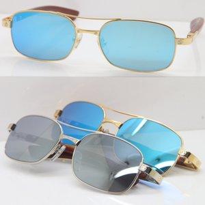 Havacılar Erkek ahşap erkekler Kadın C Dekorasyon altın çerçeve için Yeni Mavi Ayna Objektif Güneş Dekor Ahşap çerçeve gözlükler moda güneş gözlüğü gözlük