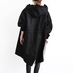 Women's Trench Coat Plus Size M-4XL Hoodie Windbreaker Solid Pockets Button Lightweight Overcoat Big Size Hooded Cloak