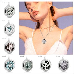 20 Styles Premium Aromatherapy Essential Oil Diffuser Stainless Steel Aromatherapy Gasket Pendant Box Locket Pendant Jewelry Gift