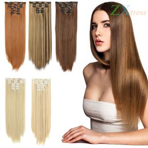 """De largo clip en extensiones de pelo sintético recto 16 clips cabeza llena Japón resistente al calor pelo de la fibra de la Mujer de mirada natural de 24"""" 6 Piezas"""