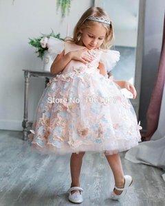 Baby Girl Flower Dress White Pink Lace Princess День рождения Свадьба Крестины платье летнее платье младенца девушки Крещение Платье