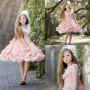 Light Pink Knee Length Flower Girl Dresses Lace Beaded Jewel Neck Feather Pageant Gowns with 3D Flowers Girls Party Celerity Dress
