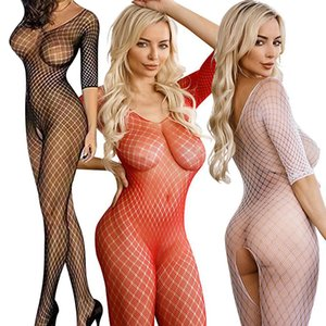 2020 Sexy Lingerie Hollow Harnesses Fishnet Bodystockings Babydoll bodysuit Lingerie Sexy Fishnet Crotchless Onesie Apparel B321
