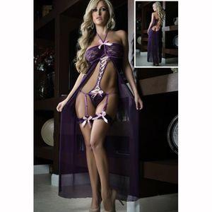 النساء اللباس جنسي الملابس الداخلية مجموعة الرباط نوم بيبي دول ملابس داخلية طويلة شبكة شير ملابس الرسن الغريبة القمص باس النوم جديد