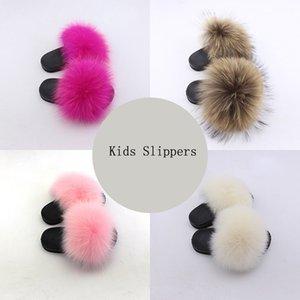 2020 tirón Olomm niños Zapatillas real del mapache Diapositivas Chinelos Menina Zapatillas niño Zapatos de los bebés del verano Fracasos