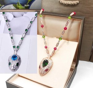 Hot Sale Fashion Lady Women Brass 18K Gold Inlay Color Gemstone Necklaces With Full Diamond Red Blue Eyes Zircon Snake Head Pendant