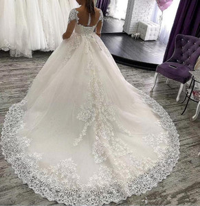 Великолепные наполовину короткие рукава кружевные аппликации шариковые платья свадебные платья 2020 с кодом Sash Eraine Jewel Peart Tulle свадебные свадебные платья
