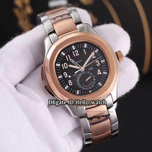 Sport Date Aquanaut 5164R-001 5164A-001 GMT Двойное время Очень большой черный циферблат Автоматические мужские часы Розовое золото Двухцветная полоса Мужские часы