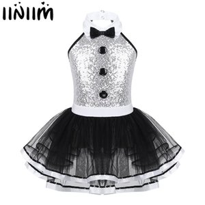 iiniim Kids Girls Modern Dancewear Costume Greatest Show man Fancy Shiny Sequins Decorative Button Gymnastics Leotard Tutu Dress