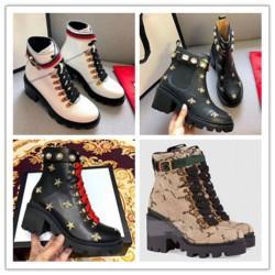 Cargadores del tobillo de los botines del diseñador FashionWomens Chunky monograma clásico talón Martin botas mujer botas Shoes desierto L05