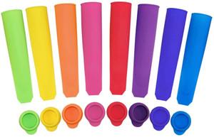 Silikon-Eis-Pop-Formen mit Deckeln Eis am Stiel-Formen Bunten Freeze-Pop Mold DIY Push-Eis am Stiel mit Trichter und Bürstchen für Heim Ice Fabrikat