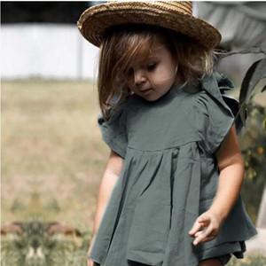 فتاة كتان القطن وضعت لون الصيف النقي طفل رضيع بارد كمة فراشة T-Shorts 2PCS Set Whestalebaby Kid Summer Clothes WY635