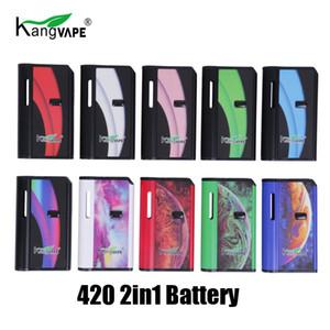 Otantik Kangvape 420 2in1 Pil 650mAh Değişken Voltaj 2'si 1 Vape Box Mod Takımı 510 Konu Arabaları Uyumlu Pod Kartuş% 100 Orijinal