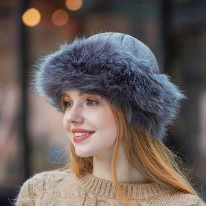 Femmes élégantes Toque en fourrure Nouvelle arrivée élastique chaud Fox Raccoon naturel fourrure russe ushanka chapeaux d'hiver chaud épais Oreilles Bomber Fashion Cap Noir