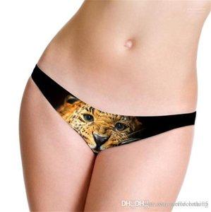 Taille basse pour femmes Culotte Ice Silk Skinny femmes Briefs Femme Sous-vêtements sexy Leopard