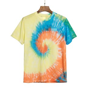 Palm vortex gradient color tie-dye angles short-sleeved T-shirt European and American tide brand loose round neck cotton T-shirt