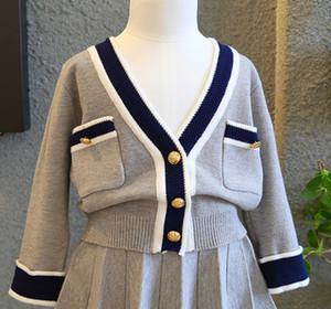 2020 nouveaux ins nouvelles conception de printemps et d'automne filles haut tricotée douce + bouton ensemble jupe princesse enfants mode jupe livraison gratuite