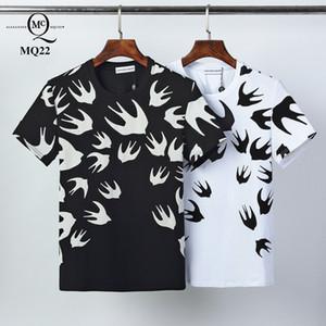 2020ss весной и летом новый высококачественный хлопок печати короткий рукав круглый шею панель T-Shirt Размер: M-L-XL-XXL-XXXL Цвет: черный белый Q04