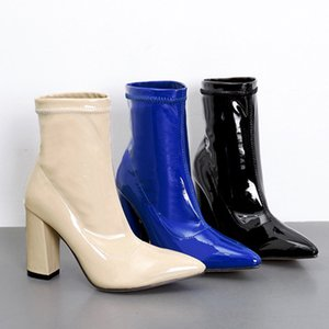 TINGHON Patent Leather Sexy Blue Sock Boots Women Pointed Toe High Heel Women Boots Slip on Ankle Boots Women