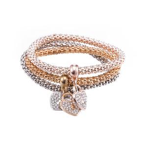 3PCS / SET 매력 팔찌 18K 골드 하트 키 팔찌 다이아몬드 크리스탈 스와 로브 스키 보석 선물 미국 스타일 영광스러운 BlingBling에서 빛나는