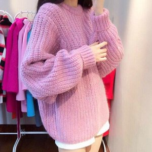 2020 Pullovers coarse knit loose ladies crewneck turtleneck sweater coat thickened dolman sleeve new arrival promotion sale