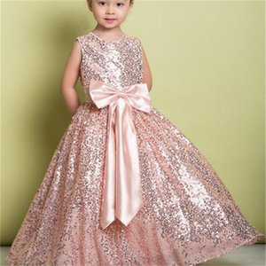 New Pink Sequined Flower Girl Dress Sleeveless Long zipper Girl Wedding Party Event Prom Dresses First Holy Communion Dresses