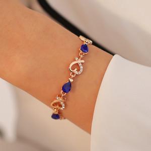 Collegamento braccialetto fiore del cuore del braccialetto di fascino del Rhinestone di cristallo per il regalo Day gioielli Dichiarazione Donne Vintage Bracciali partito di San Valentino
