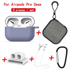 5 in 1 Lanyard Karabiner-Schutzhülle für Airpods Pro-weichen Silikon-Ohrhörer-Kasten für Airpods 3 Aufbewahrungsbehälter Zubehör