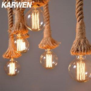 Vintage canapa Holder corda pendente E27 1M 1.5M 2M 2.5M 3M AC85-265V Loft pendente personalità industriale lampada Edison hanglamp