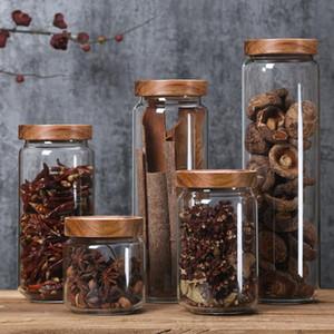 350/650 / 950ml / 1250ml / 1550ml Couvercle bambou verre Airtight Bouteilles Canister Grains de stockage Jars grains de café de feuilles de thé bonbons nourriture pot DHA459