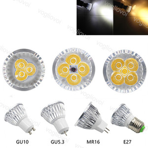 LED bombillas E27 MR16 MRIGHT CHIP 3W 4W 5W 85 ~ 265V DC12V Luces de punto Downlight CALIENTE CALIENTE CUBIERTE DE ALUMINIO PC para la mesa de la pared de la mesa de la mesa interior EUB EUB