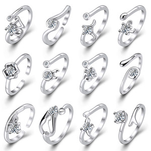 Silver Rings Hot Sale Crystal Constellation Band Finger Ring For Women Girl Party Open Size Fashion Jewelry Wholesale Free Shipping 0192WH