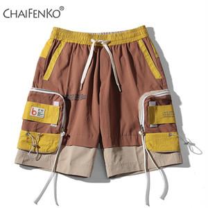 CHAIFENKO أزياء الصيف الرجال السراويل 2020 جديد حار الحركة عارضة الجيب الأدوات السراويل الهيب هوب الشارع الشهير المتناثرة الرجال