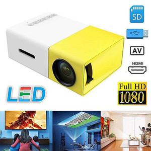 عالية الجودة YG300 LED المحمولة العارض 400-600LM الصوت 3.5mm 320X240 بكسل YG300 HDMI USB ميني بروجكتور الرئيسية ميديا بلاير