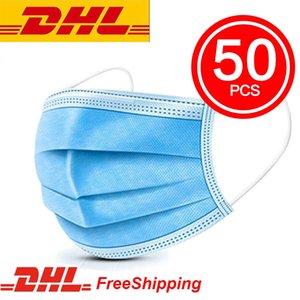 ¡en stock! DHL liberan mascarillas desechables cara con elástico del oído Loop 3 capas transpirable para el bloqueo de polvo del aire Anti-Pollution Crema Mascherin