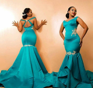 2020 Африканский Peacock Пром платья кружева аппликация Русалка ремни V шеи Многоуровневое атласная развертки Поезд сшитое партии вечера платья плюс размер