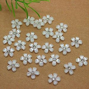 Free Shipping 200pcs 10mm white resin flower with rhinestone flatback cabochon for DIY scrapbooking, Embellishment Accessories
