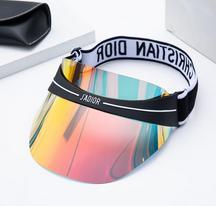 designer de viseira Verão, chapéu de sol dos homens de moda e chapéu de sol mais recente projeto deslumbramento chapéu cor transparente sol PVC das mulheres de alta qualidade