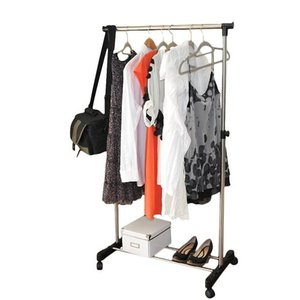 Single-bar Vertical & Horizontal Stretching Stand Clothes Rack with Shoe Shelf YJ-01 Black & Silver
