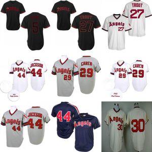 Reggie Jackson Jersey Los Angeles Vintage Angels 29 Rod Carew 30 Nolan Ryan Red Grey White Home Away Men Size S-3XL 05