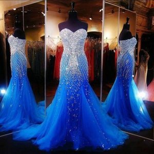 Sexy Royal Blue Sexy Mermaid Prom Dresses for Pageant Sweetheart Women Long Tulle with Rhinestones Crystal Formal Evening Party Gowns Wear
