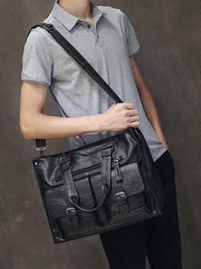 """Leder Laptoptasche Männer schwarze Aktentasche 15,6"""" Fashion Business Taschen Vintage lässige Herren Bürocomputer Tasche Beutel für Männer"""