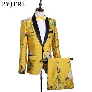 PYJTRL Moda uomo stile cinese God Yellow Abito da ricamo Abito discoteca Cantante Prom Grus Japonensis Tuxedo Clothes 2018