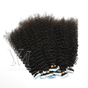 VMAE IN IMLEDIATE DIVERY 28 인치 자연 색상 레미 50g 이탈리아어 곱슬 물결 3A 3C Mirgin Natural Tape In Human Hair Extension