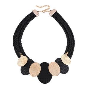 Venta al por mayor Vintage Metal Negro Collar Llamativo Mujeres Maxi Gargantilla Collar Collar Mujer Collier Collares Kolye Ketting Joyería