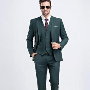 Yakışıklı Groomsmen Çentik Yaka Damat Smokin Koyu Yeşil Erkekler Düğün / Balo / Akşam Yemeği En İyi Adam Blazer Suits (Ceket + Pantolon + Kravat + Yelek) A1165