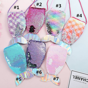 Mädchen Mermaid Pailletten Geldbörse mit Lanyard Fisch-Form-Endstück-Telefon-Beutel-Beutel Kleine tragbare Glittler Cross Body Wallet-Kind-Spielzeug-Tasche