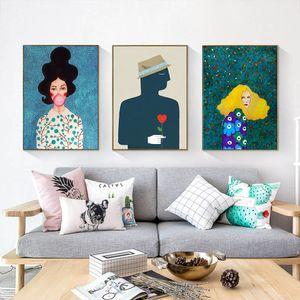 Nordic Modern Style Charaktere bunte abstrakte Leinwand-Malerei-Plakat-Druck-Dekor-Wand-Kunst-Bilder Für Wohnzimmer Schlafzimmer