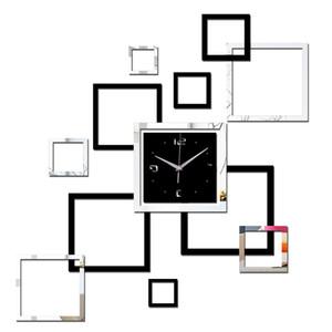 2019 sala de estar novo relógio de parede 3d diy relógios de decoração para casa relógio horloge murale quartzo acrílico espelho adesivos